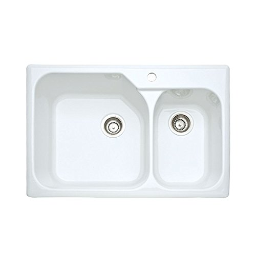 - Rohl 6317-00 33-Inch Allia Double Basin Drop-In Fireclay Kitchen Sink with Single Faucet Hole, White