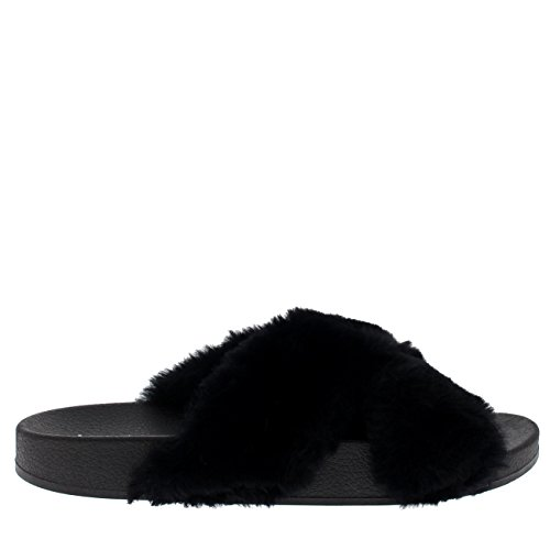 Cruz Single Chic Flat Viva Open Summer Correa Sassy Womens Correa Sandalias Moda Fluffy Toe Negro IAwqFqO4nx