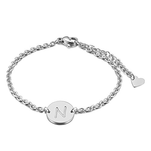 THREE KEYS JEWELRY Silver Tone Initial N Bracelet 316L Stainless Steel Disc Pendant Heart with Letter Alphabet for Womens and Girls(6.5