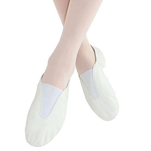 Danzcue Damen Leder Jazz Schuhe Weiß