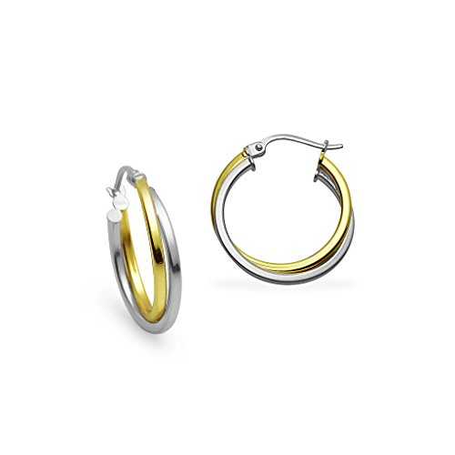 Sterling Silver and Yellow Gold Flashed Silver Two-Tone 20mm Square-Tube Twist Hoop ()