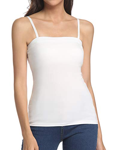 (Tank Tops for Women Removable Strap Camisole with Built in Padded Bra Vest Cami Sleeveless Top White M)