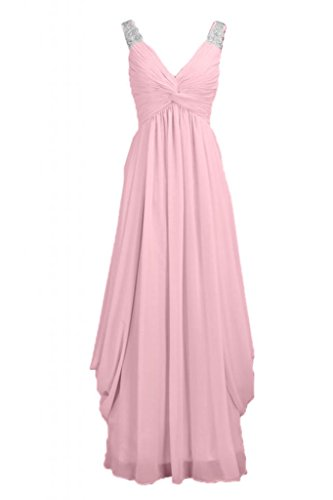 sera Pink damigella abito V scollo da da vestito d'onore Sunvary lunga elegante in Chiffon a O4TaaA