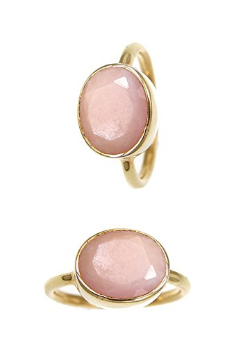 Oval Gemstone Stackable Ring - Pink Opal Rings - Oval Gold Plated Sterling Silver Rings - Stackable Bezel Gemstone Rings