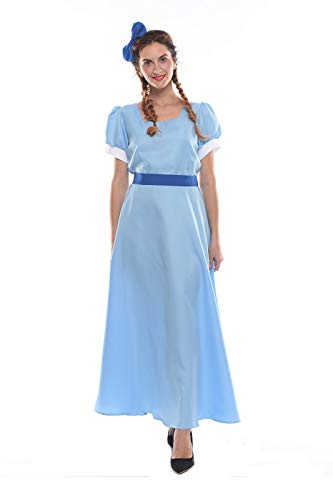 NSPSTT Women Costume Dresses Princess Cosplay Party Fancy Maxi Dress Blue -