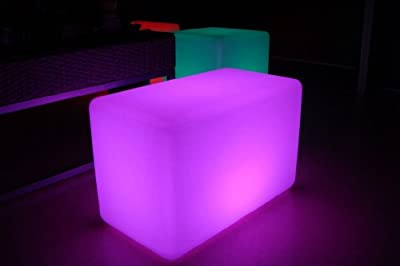 LED Light Bench 22 Inches - Cordless with Remote Control - Color Changing Chair for Nightclubs and Events Decor