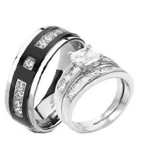 his hers 925 sterling silver rhodium plated titanium matching engagement wedding ring set - Wedding Rings Amazon