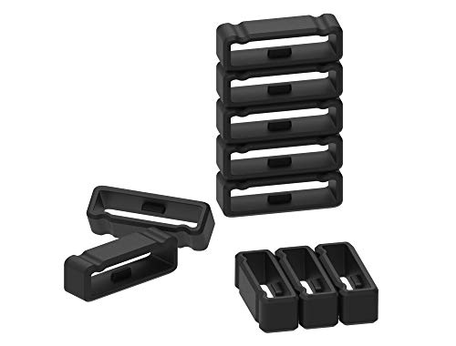 10-Pack Replacement Fastener Ring for Garmin Fenix 3 / Fenix 3 HR/Fenix 3 Sapphire/Fenix 5X / Fenix 5X Plus/Descent Mk1 / Quatix 3 / Tactix Bravo Silicone Band Keeper Security Loop (Black-A)