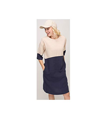 (Women's Casual Color Block Dress 3/4 Sleeve Two Tone Colors Loose Shift Shirt Dress with Pockets (Small) )