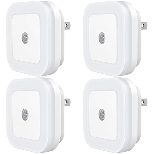 SYCEES Dimmable LED Night Light, Plug in Nightlight with Dusk to Dawn Sensor for Bedroom, Kids Room, Nursery, Bathroom, Kitchen, Hallway, Stairs, Daylight White, 4-Pack