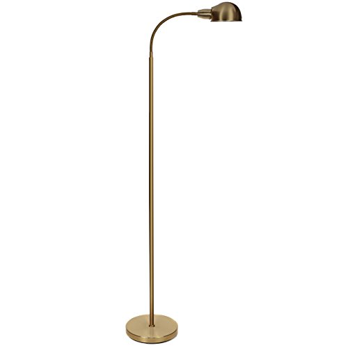Brightech Regent LED Reading and Craft Floor Lamp – Contemporary Modern LED Standing Light with Gooseneck for Living Room, Sewing, Bedroom Office Task Crafting – Antique Brass