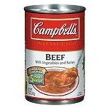 Campbells Condensed Beef Soup with Vegetables and Barley - 11 oz. can, 12 per case