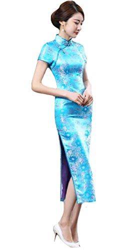 Coolred-femmes Classiques Haut De Gamme À Manches Courtes Bleu Partie Du Lac Longue Robe Cheongsam