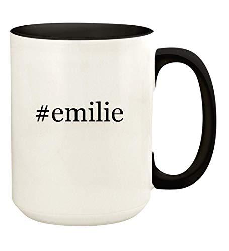 #emilie - 15oz Hashtag Ceramic Colored Handle and Inside Coffee Mug Cup, Black