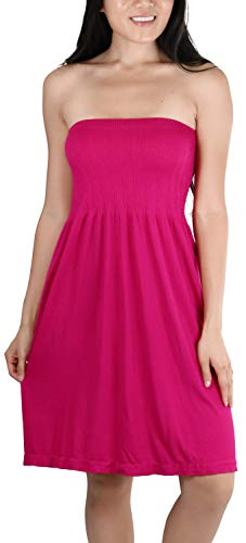 ToBeInStyle Women's Summer Tube Top Mini Dress - One Size - Pink