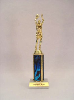 12 Inch Quick Ship Single Column Trophy: Male Basketball Figure, Black Column (Includes Free Engraving)