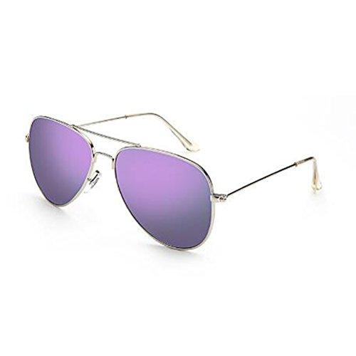 Cara para Color Silver hombre de redonda Protección frame UV400 UV Antideslumbrante sol Conductores Ojos frame para WLHW purple powder cherry Silver Antideslumbrante Parejas sol Gafas polarizadas de Gafas mujer wqx1PFz