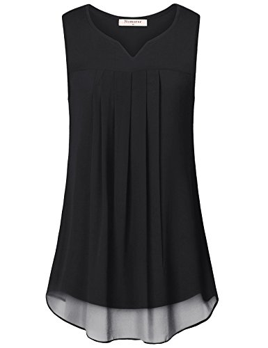 Nomorer Womens Sleeveless Tunic Blouse for Leggings, Chiffon Lightweight Layered Trapeze Tank Tops for Business Work to Wear with Leggings (Black, M) (Cami Layer Double)