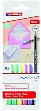 Edding 1200 – Rotuladores de colores pastel – Punta redonda 1 mm – Juego de 6 – Para escribir y pintar de forma creativa, para notas, dibujos, letras de mano y diario
