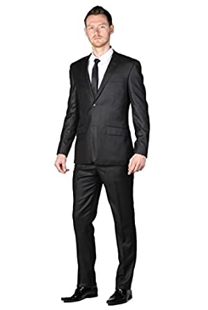 Matte black suit with two buttons slim fit - Black - 60: Amazon.co ...