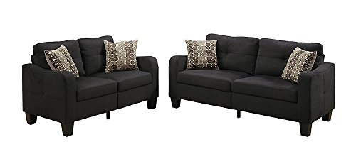 Poundex Bobkona Spencer Linen-like Polyfabric 2Piece Sofa & Loveseat Set in Black
