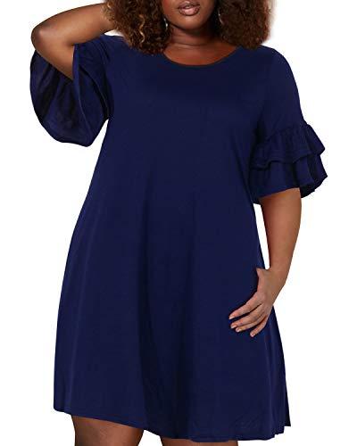 Nemidor Women's Ruffle Sleeve Jersey Knit Plus Size Casual Swing Dress with Pocket (Navy, 20W)