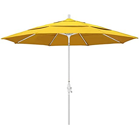 California Umbrella 11 Round Aluminum Market Umbrella Crank Lift Collar Tilt White Pole Lemon Olefin