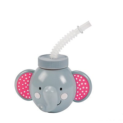 Pink Elephant Molded Cups with Lids & Straws 2 units