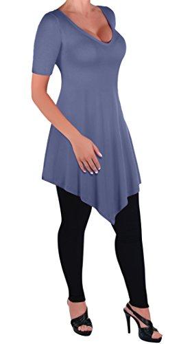 En Col T Bleu Tops Evas Dames Aux Chemisier Femmes V Ourlet Keira Eyecatch Denim Tunique Shirt aw1gqFT