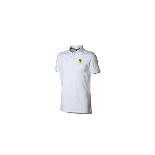 Ferrari Polo Hombre clásico Escudo Blanco Talla L: Amazon.es ...