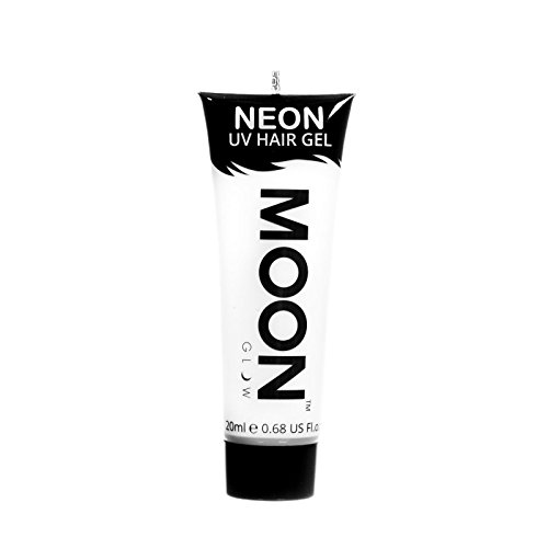 Moon Glow - Blacklight Neon UV Hair Gel - 0.67oz White – Temporary wash out hair color - Spike and (White Hair Paint)