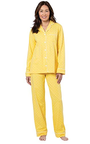 PajamaGram Womans Pajamas Soft Cotton - Pajamas Set for Women, Yellow, L, 12-14