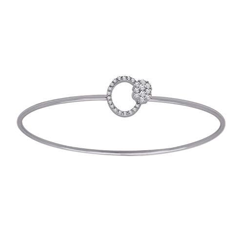 IGI-Certified 0.27 Ct Round Cut Natural Diamond 18K Solid Gold Open Circle Bangle Bracelet (white-gold) (Bracelet Circle Gold Diamond White)