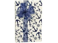 Navy Blue Nautical Anchor Gift Wrap Wrapping Paper-18ft Roll w. 20Gift Tags