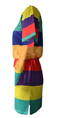 Abito Maniche Allentato Donna Mini 1 Jaycargogo Elegante Colorblock Corte qTtRtx