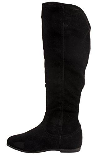 Women's Slip On Boots Lined Long Shaft Wedges QS195 Schwarz ungefüttert CAyr68omt