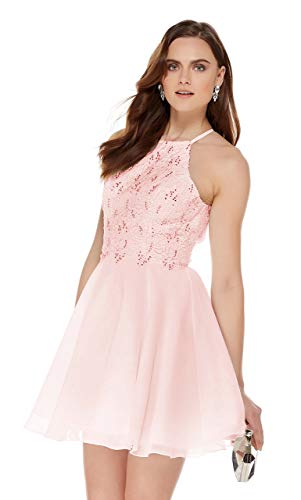 - Women's Open Back Beaded Chiffon Lace Homecoming Dress Halter Short Ball Gown Blush Pink Size 4