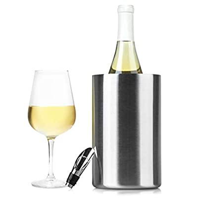 Insulated Wine Cooler Bucket with Wine Aerator - Fits 750ml Wine Bottles, Keeps Wine Cold for Hours | Sweat-Free Stainless Steel Wine Bottle Chiller/Champagne Bucket | Premium Wine Chiller Bucket