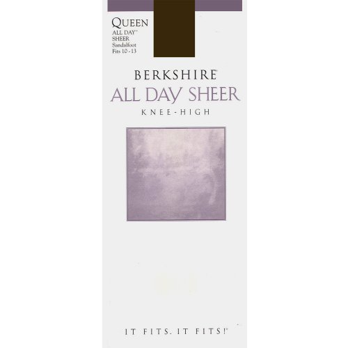 Berkshire Women's Plus-Size Queen All Day Knee High Sandalfoot Pantyhose, Off Black, - Pantyhose Stretch Berkshire
