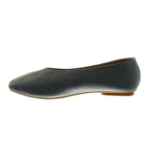 Flat Heel Flat Slip on Angkorly Blue cm Dark Soft 1 Shoes Women's Fashion Shoes Ballet wt4tYvzqx