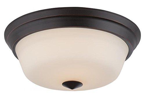 Flush Omni Light Mount - Calvin - 2 Light Flush Fixture W/ Satin White Glass - Led Omni Included