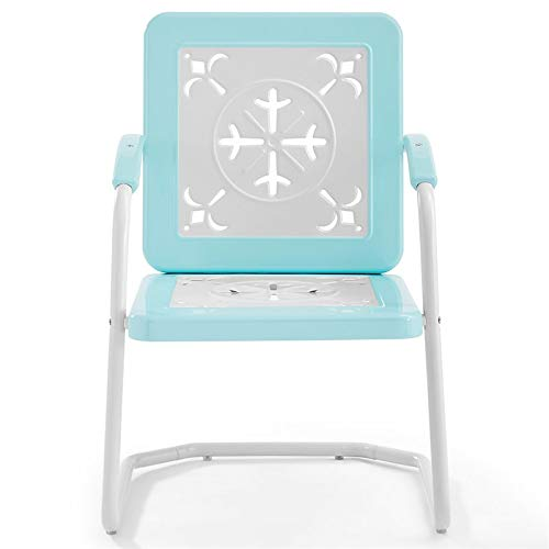 Crosley Furniture CO1026-TU Azalea Retro Metal Chairs (Set of 2), Turquoise