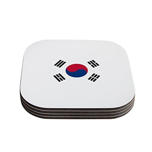 kess inhouse Bruce Stanfield bandera de Corea blanco Digital de posavasos (juego de 4), 10.2x 10.2cm, multicolor