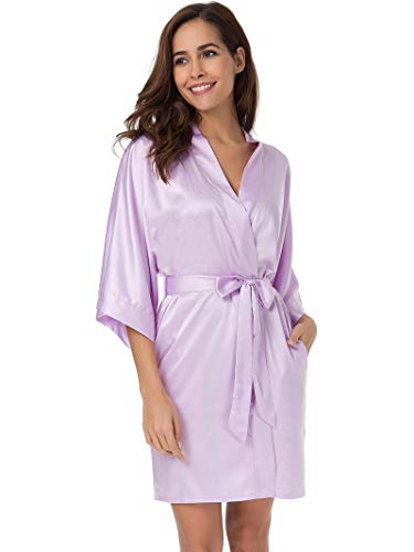 SIORO Women's Satin Robe,Silky Kimono Bathrobe for Bride Bridesmaids,Wedding Party Loungewear Short,Lilac S]()