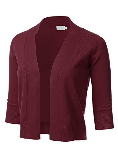 Women's Classic 3/4 Sleeve Open Front Cropped Cardigan Burgundy 3XL