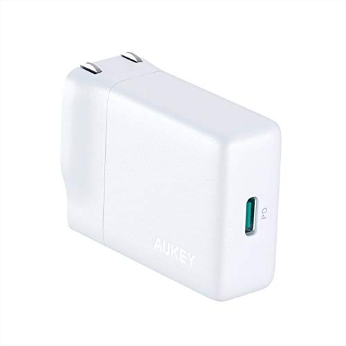 AUKEY USB C Wall Charger with 18W Power Delivery 3.0, Ultra-Slim USB PD Charger with Foldable Plug for iPhone Xs/Xs Max/XR, Google Pixel 3/3 XL, and - Power 18w Compact