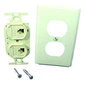 leviton duplex ivory flush phone jack 110 type. Black Bedroom Furniture Sets. Home Design Ideas