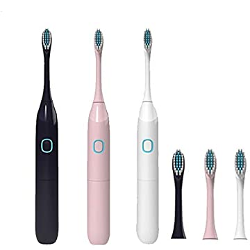 Angoo Electric Toothbrush IPX7 Waterproof Whitening Prevent Tooth Decay Removes Plaque with 2 Extra Replacement Brush Heads (Pink11)
