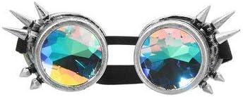 Queenwind 5色万華鏡メガネレイヴプリズムサングラスクリスタルレンズレインボーパーティー-シルバー