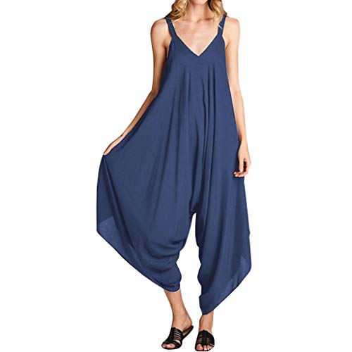 TOTOD Camisole Jumpsuit for Women Summer Sleeveless Strap Backless Loose Long Playsuits Elegant Rompers Navy